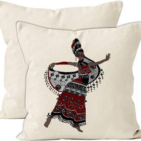 Heat Printed Canvas Cushion Cover-  Oriental woman in a beautiful dress dancing