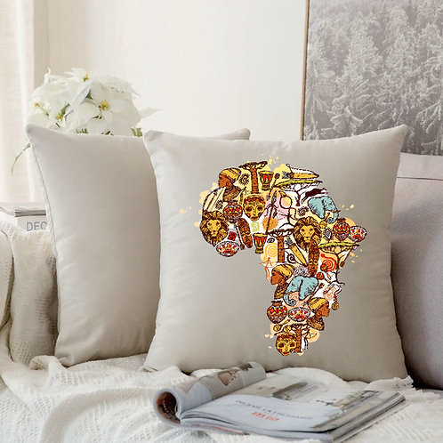 Heat Printed Canvas Cushion Cover-Map of African sketch.