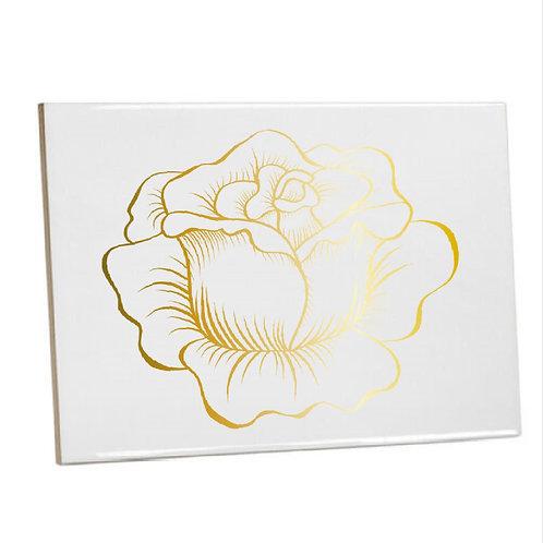 Heat Printed Bathroom/Kitchen Tile Gold Rose