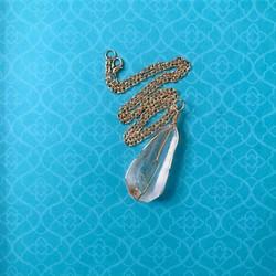 wire wrapped raw quartz pendant