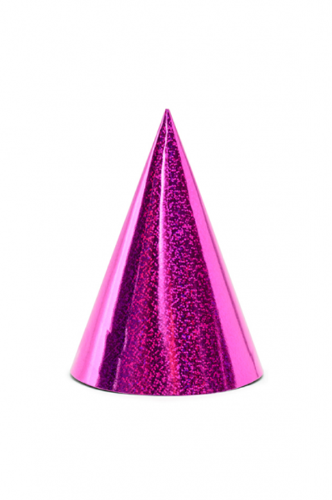 6 Partyhüte Pink Glitzer