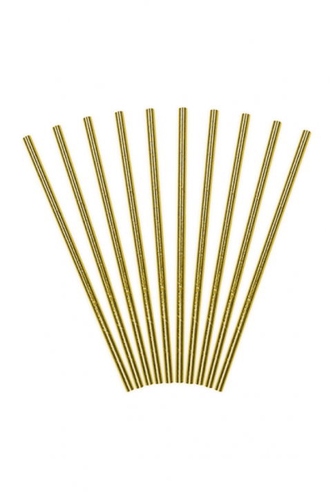 10 Papierstrohhalme Gold