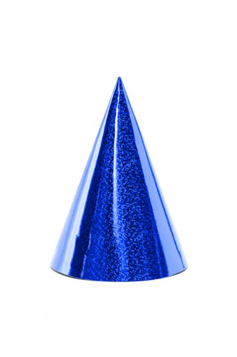 6 Partyhüte Blau Glitzer