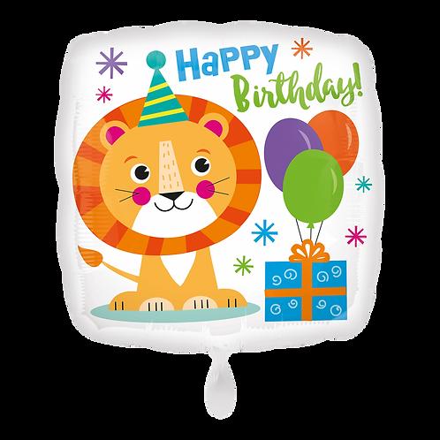 Folienballon 45cm ø Happy Birthday Löwe