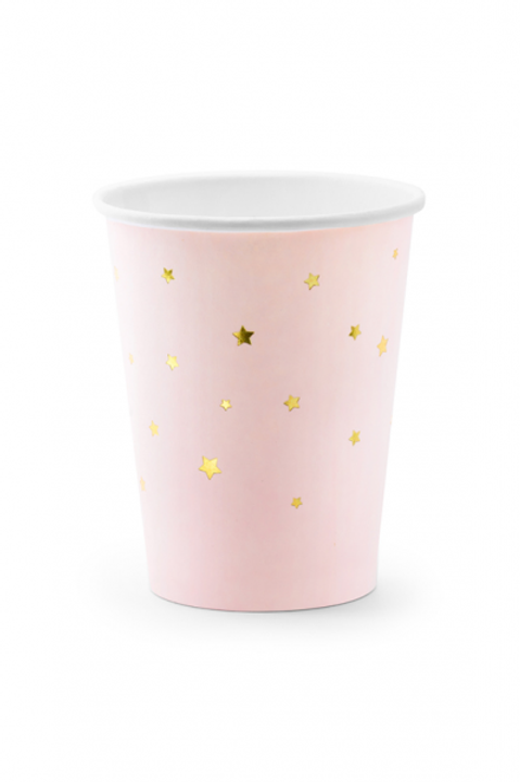 Pappbecher Stars Rosa 260ml
