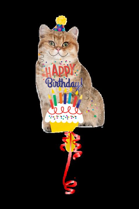 Folienballon Happy Birthday Cat