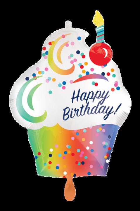Folienballon Happy Birthday Cupcake Rainbow