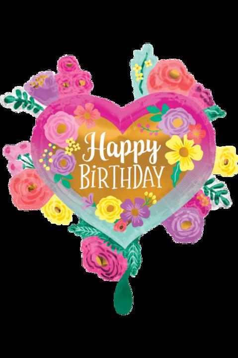 Folienballon Happy Birthday Heart
