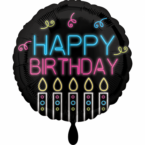 Folienballon 45cm ø Happy Birthday Neon
