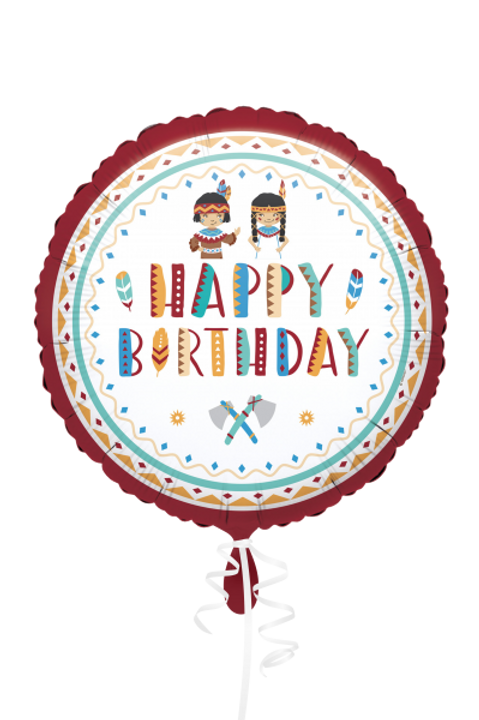 Folienballon Happy Birthday Indianer