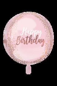 Folienballon Happy Birthday Kugel Confetti
