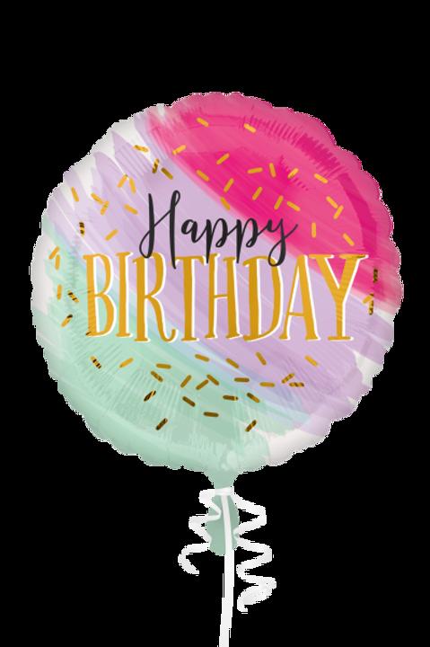 Folienballon Happy Birthday Pastell