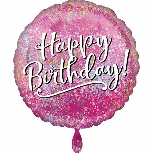 Folienballon 45cm ø Happy Birthday Pink