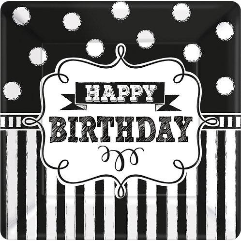 8 Pappteller Happy Birthday