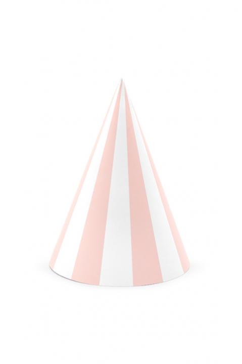 6 Partyhüte Pastell Rosa