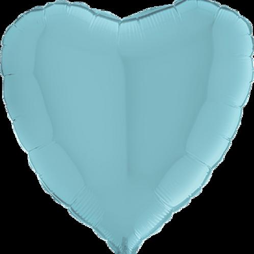 Folienballon Herz 90cm Pastell Blau