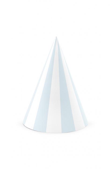 6 Partyhüte Pastell Blau