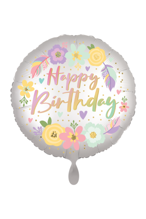 Folienballon Happy Birthday Satin Flowers