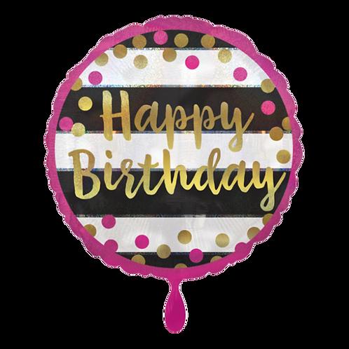 Folienballon 45cm ø Happy Birthday Pink Gold