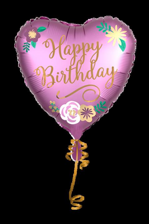Folienballon Happy Birthday Satin Heart
