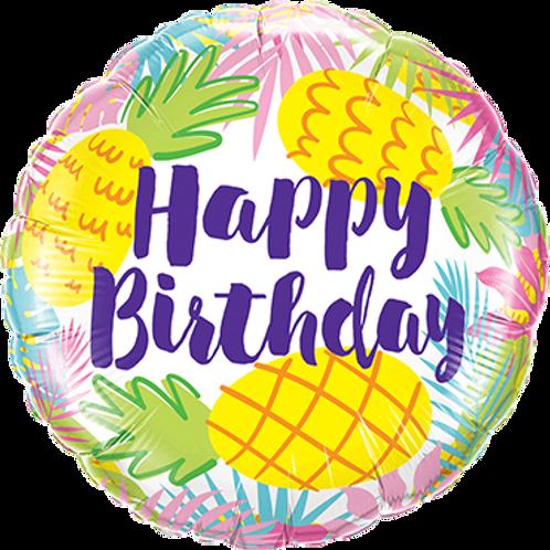 Folienballon Happy Birthday Ananas