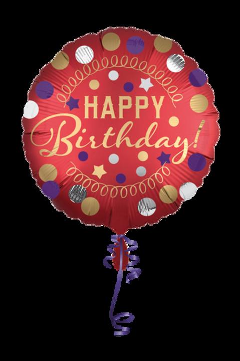 Folienballon Happy Birthday Satin Dots