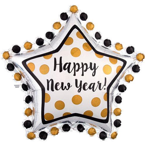 Folienballon XXL Happy New Year Stern