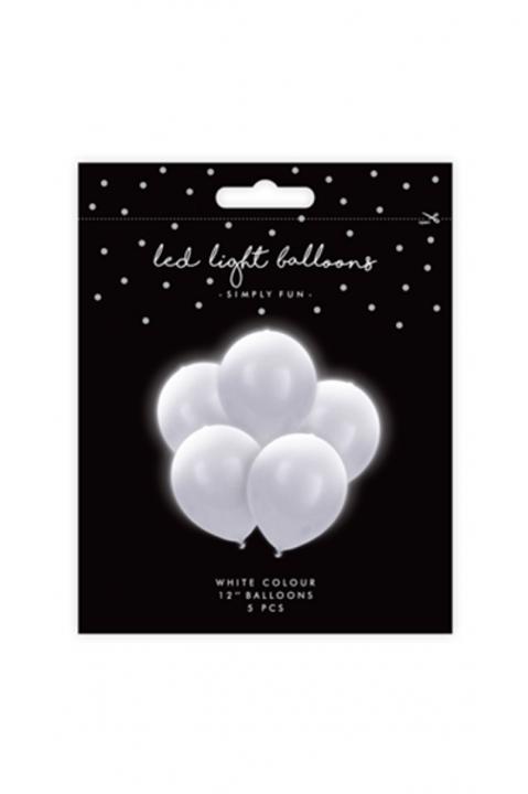 5 LED Ballons Weiß