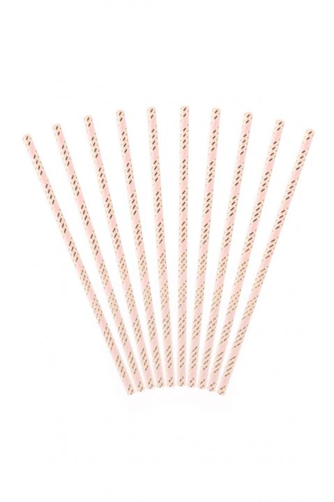 10 Papierstrohhalme Rosa-Gold