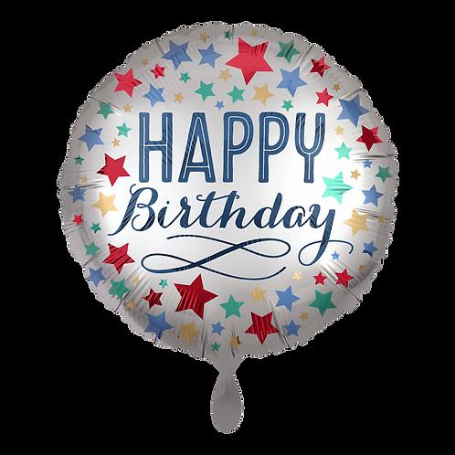 Folienballon 45cm ø Happy Birthday Satin Silver