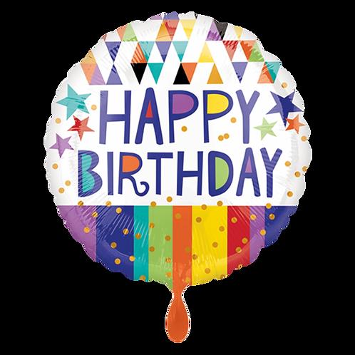 Folienballon 45cm ø Happy Birthday Stripes