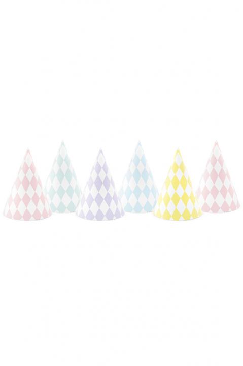 6 Partyhüte Pastell Mix