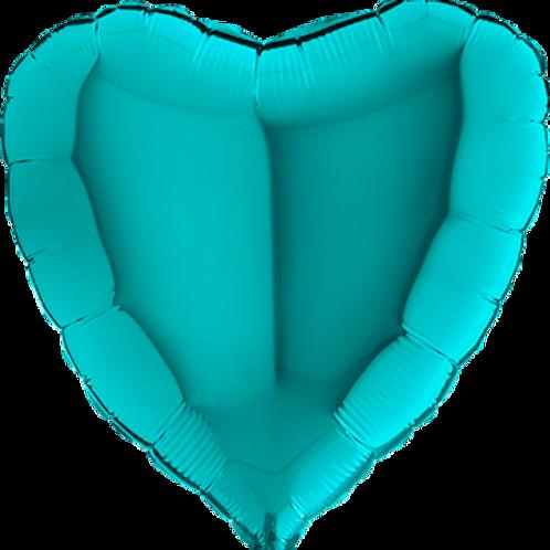 Folienballon Herz 90cm Türkis