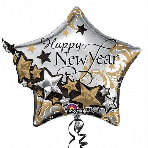 Folienballon XXL Stern Happy New Year 3D