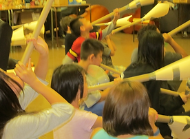 Special needs children with musical instruments and hands on workshops