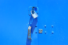 Blue doors with padlock