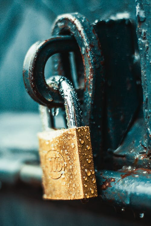 Lock with water droplets