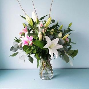 FV-3 Funeral Take Home Vase Lilies