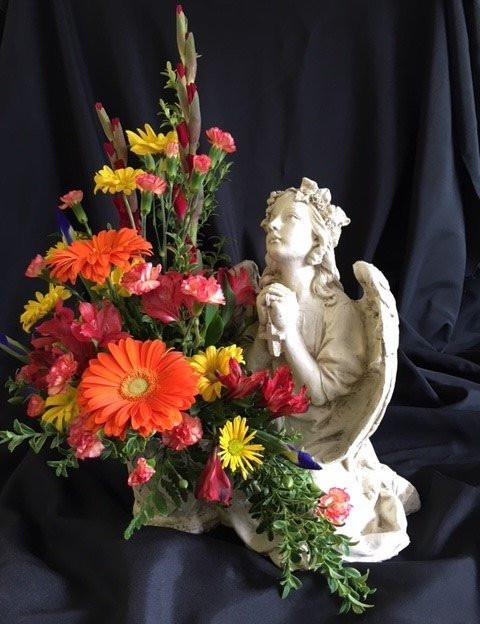 GAL-2; Large Garden Angel wtih floral