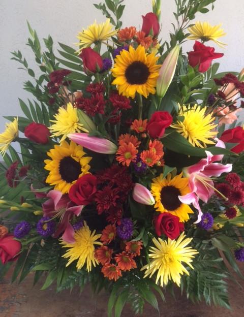 FB-3 Funeral tabletop. Sunflower summer mix.