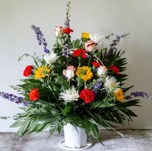 FB-12 Traditional Funeral Basket. Mixed summer floral
