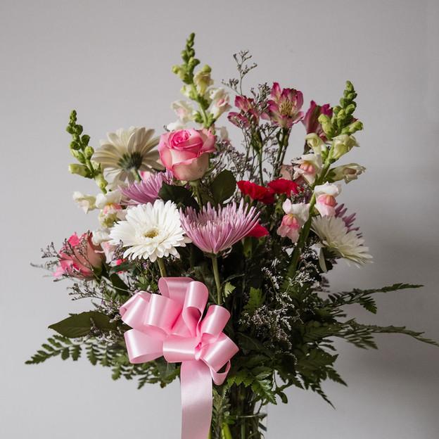 FV-5; Vase arrangement with assorted pink floral.