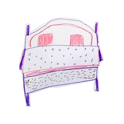 Drawing of a bed with a spotty duvet