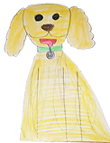 Drawing of a golden dog