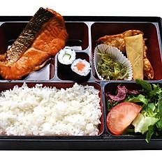 Salmon Teriyaki Bento With Miso Soup