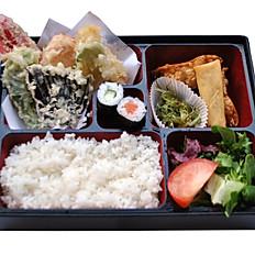 Mixed Vegetable Tempura Bento With Miso Soup
