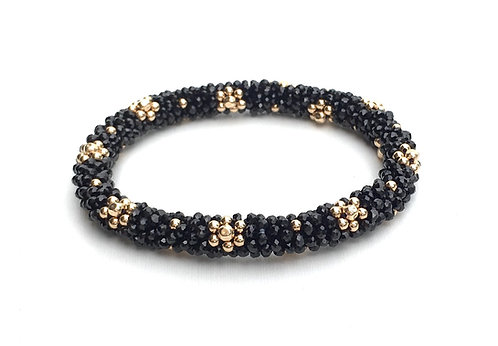 Black Spinel + Gold Flowers