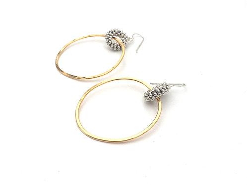 Silver + Gold Woven Link Hoop