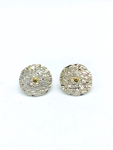 Silver Discs with 14k gold