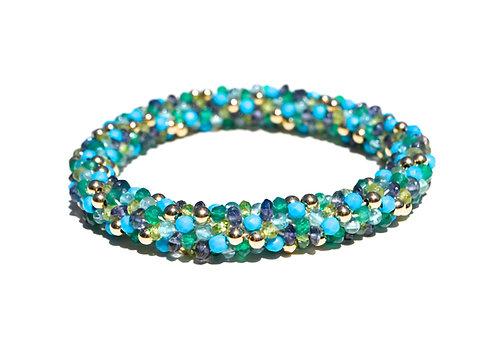 Turquoise, Topaz , Iolite + Gold